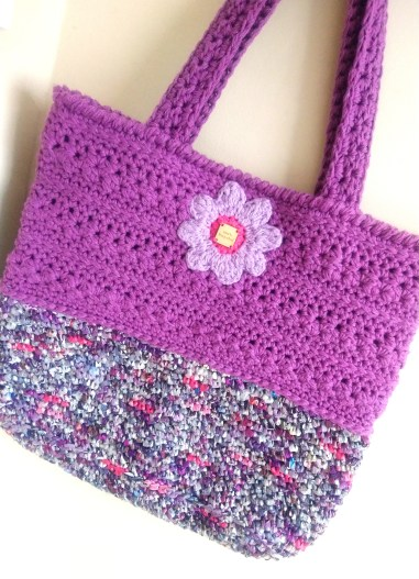 Purple crocheted Recycled bag made from bread bags and recycled cotton