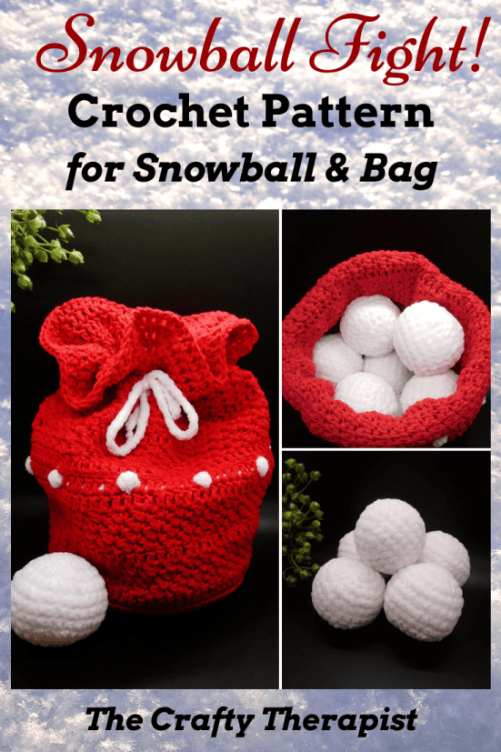 Snowball Fight snowballs crochet pattern with a cute Santa sack crochet bag pattern. Pattern by The Crafty Therapist.