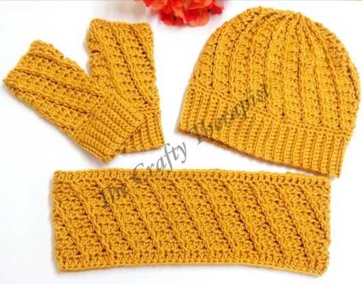 Spiral Hat Mitts and Cowl crochet patterns by The Crafty Therapist Janferie MacKintosh