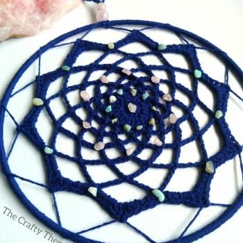 Blue crochet mandala dreamcatcher with crystals - eco crochet ideas