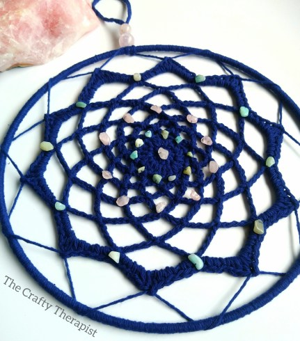 Blue Mandala with crystal chips made  in recycled cotton