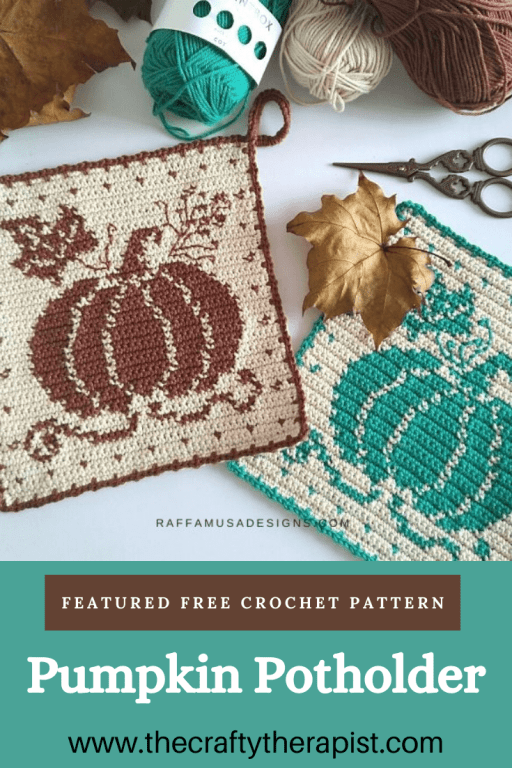 Pinterest pin for Pumpkin potholder crochet pattern by Raffamusa Designs, Free pattern Friday featured pattern.