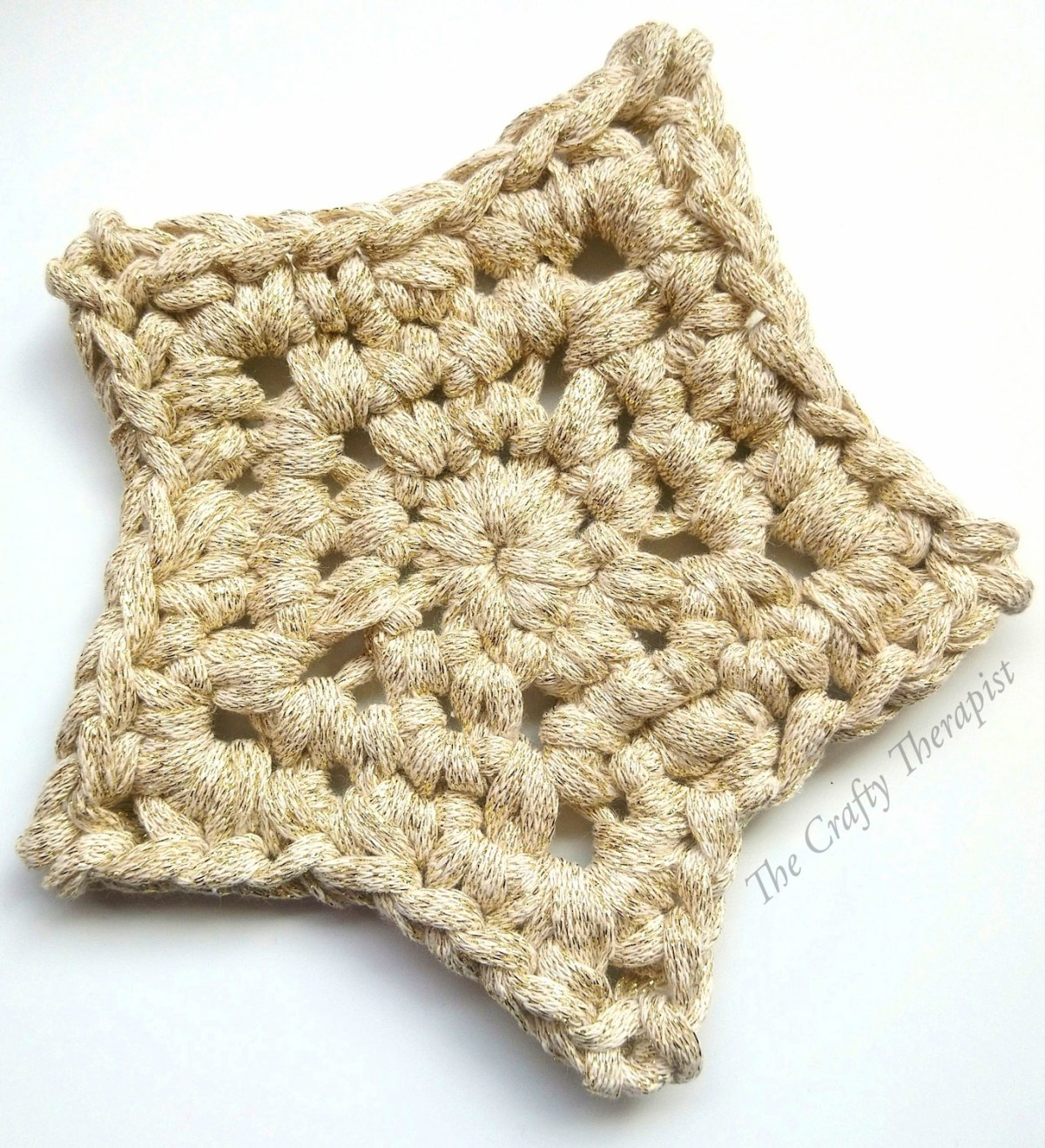 Crochet Star Coaster in Gold free crochet pattern