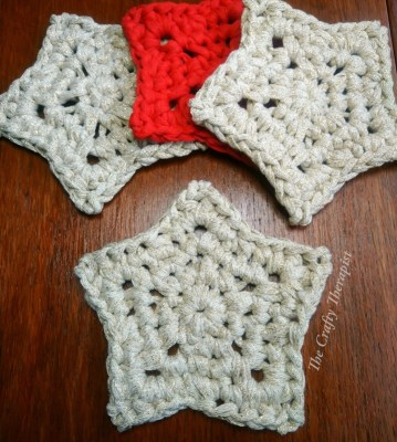 free crochet star pattern,  crochet star coasters