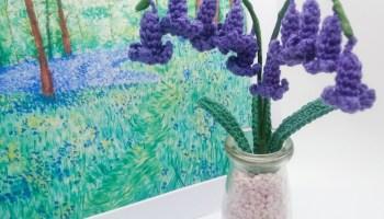 crochet bluebells in vase with bluebell art