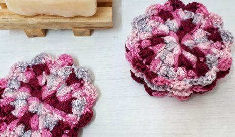 Crochet face scrubbies pinks
