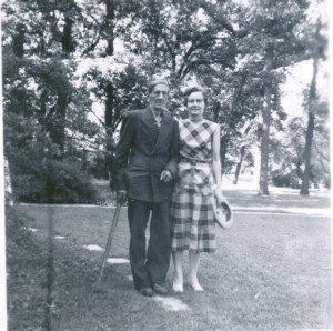 This is a photo of Christopher (Doc) Cranston taken in Galesburg, Illinois around 1956 with his daughter, Helen.