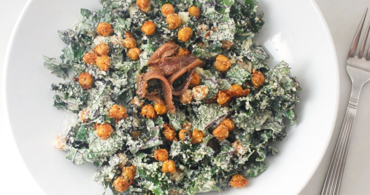 Creamy Kale Caesar with Chickpea Croutons
