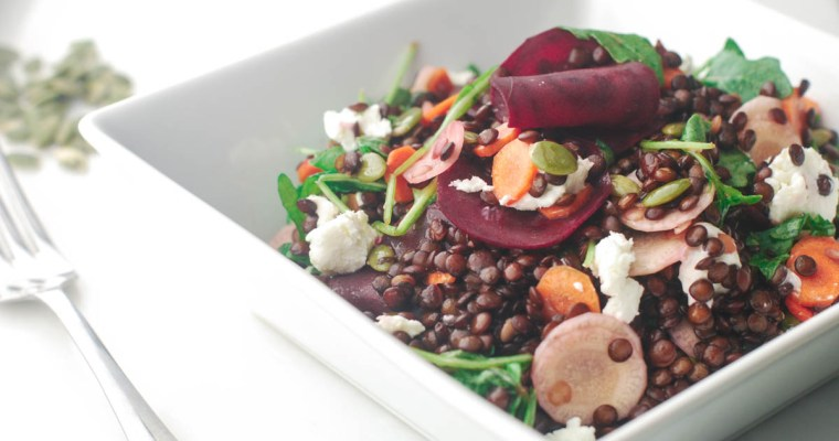 Beet, Carrot and Feta Lentil Salad