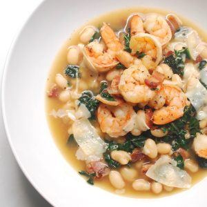Shrimp with White Beans and Kale