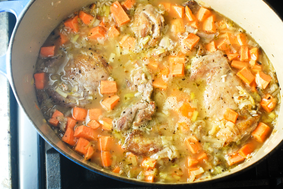 One-Pot Chicken, Rice and Sweet Potatoes