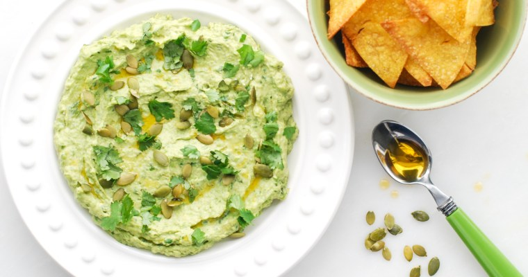Avocado-Sweet Pea Hummus with Baked Corn Chips