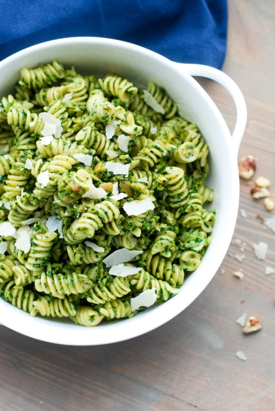 Green Olive and Walnut Pasta