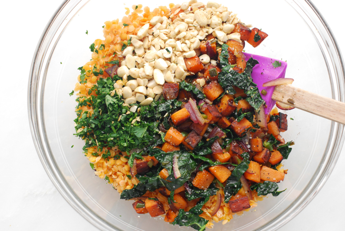 Kale and Sweet Potato Lentils