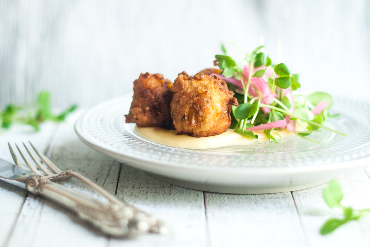 Beer Corn Fritters with Pepper Jack Fondue