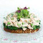 A single slice of whole grain toast topped with sauteed kale and a pile of salmon salad with peas and asparagus.