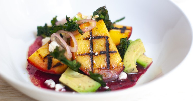 Grilled Peach Salad with Blueberry Vinaigrette