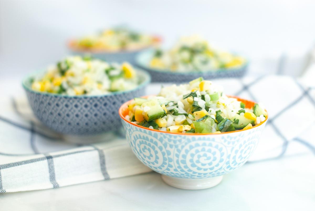 Corn and Basil Risotto Salad