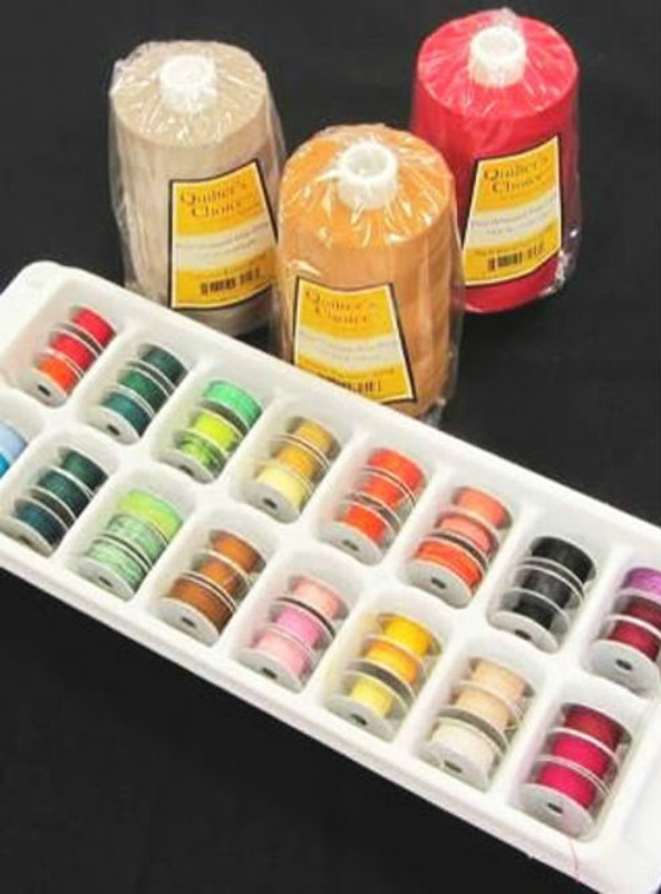 Ice Cube Tray Organizing - use an ice cube tray to keep your bobbins sorted and untangled.