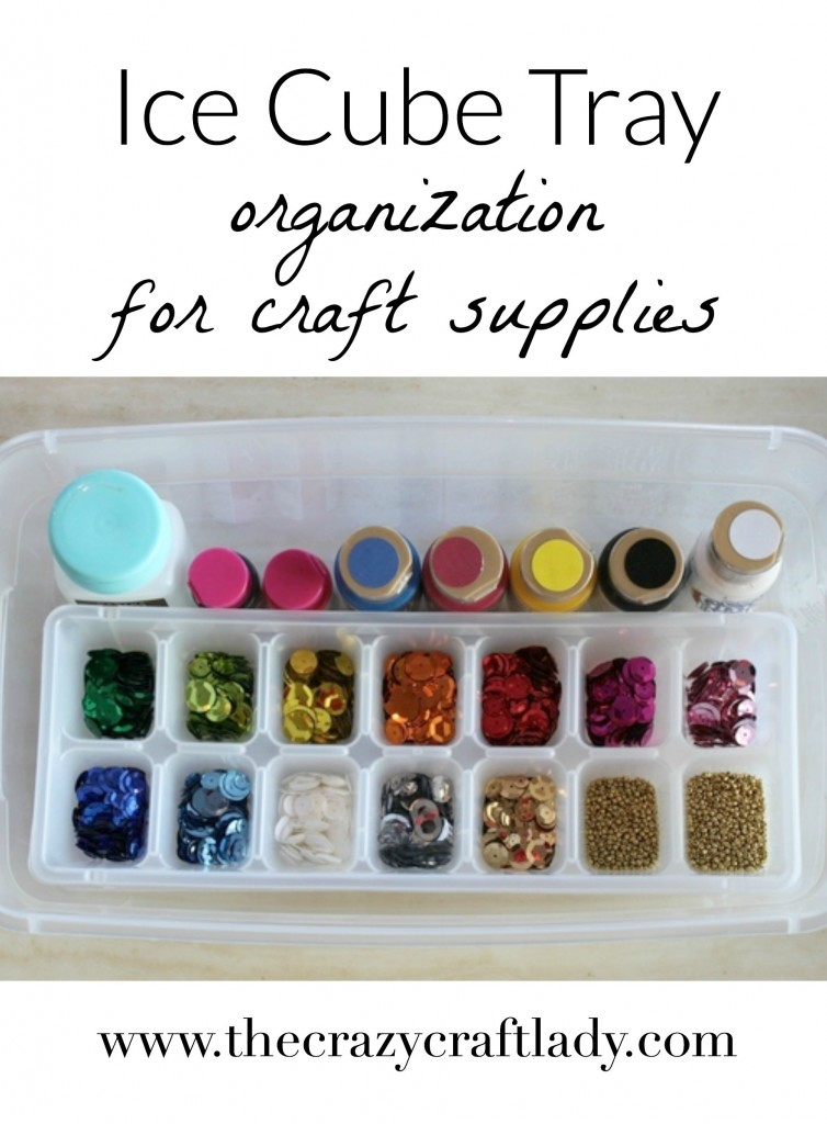 What an amazing yet simple idea for organizing craft supplies! Use an ice cube tray to sort and store small craft items like beads and sequins.