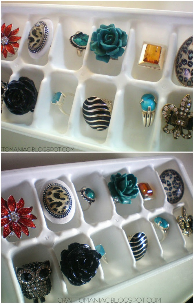 Keep your smaller jewelry items separated and organized in an ice cube tray.