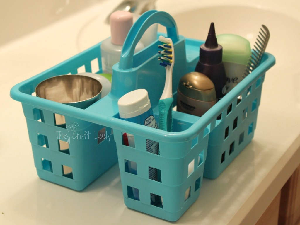 Dollar Store Bathroom Organizing - put your everyday essentials in a caddy for easy access