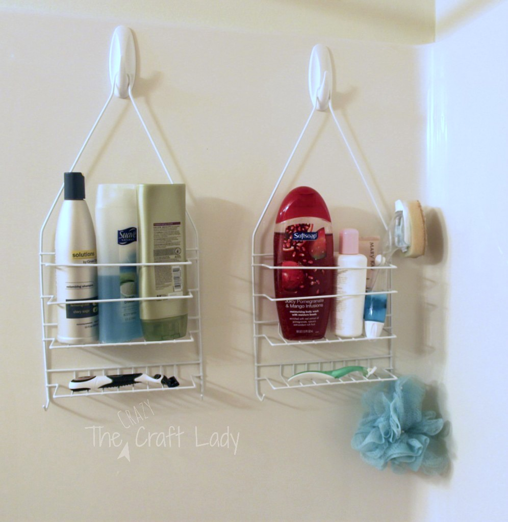Dollar Store caddies attached to the shower wall with 3M hooks