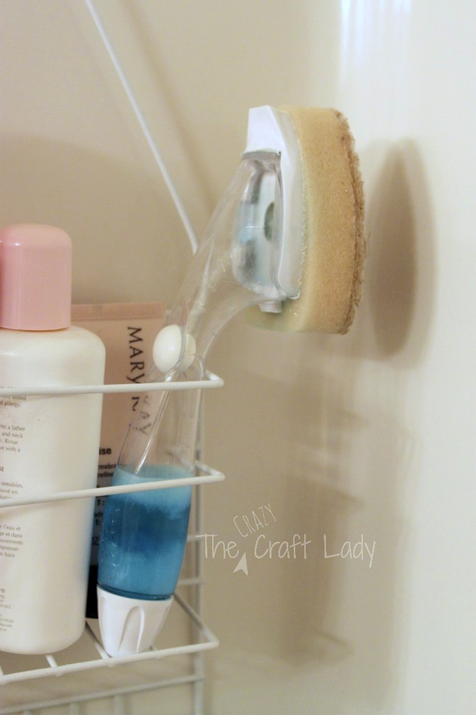Filla dishwashing wand with a 50/50 mix of dawn dish soap and vinegar for an easy shower cleaner. You can just wipe down the walls before you get out of the shower.
