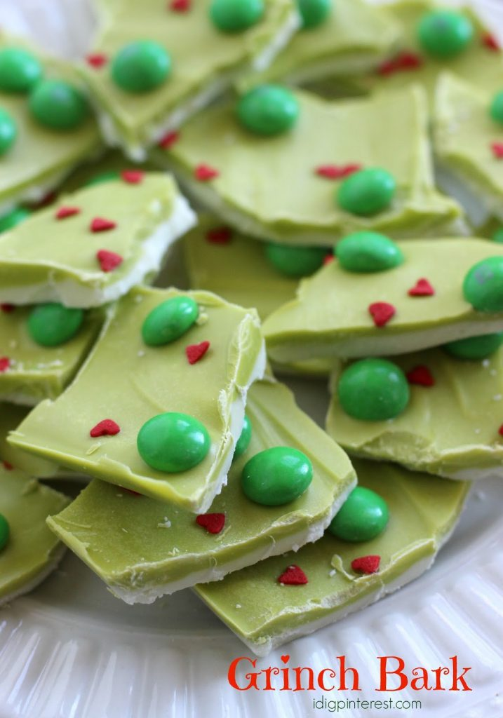 """The Best Grinch Crafts and Treats - make this fun """"Grinch bark"""" this Christmas. How the Grinch Stole Christmas fun."""