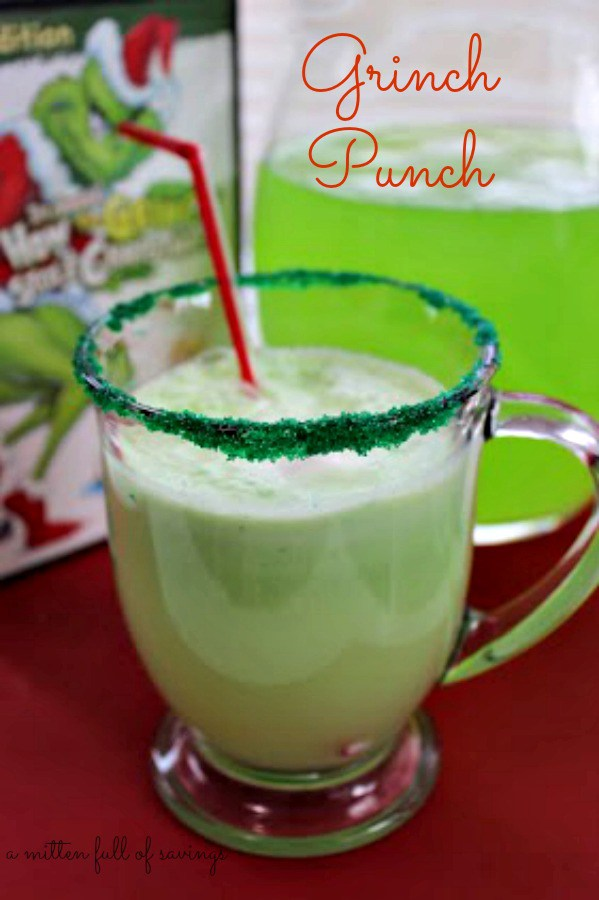 """The Best Grinch Crafts and Treats - make this fun """"Grinch Punch"""" for your next party. How the Grinch Stole Christmas fun."""