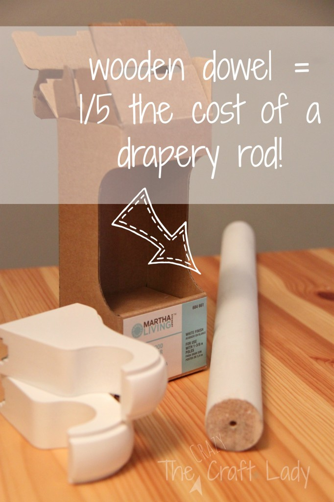 use painted wooden dowel instead of a drapery rod
