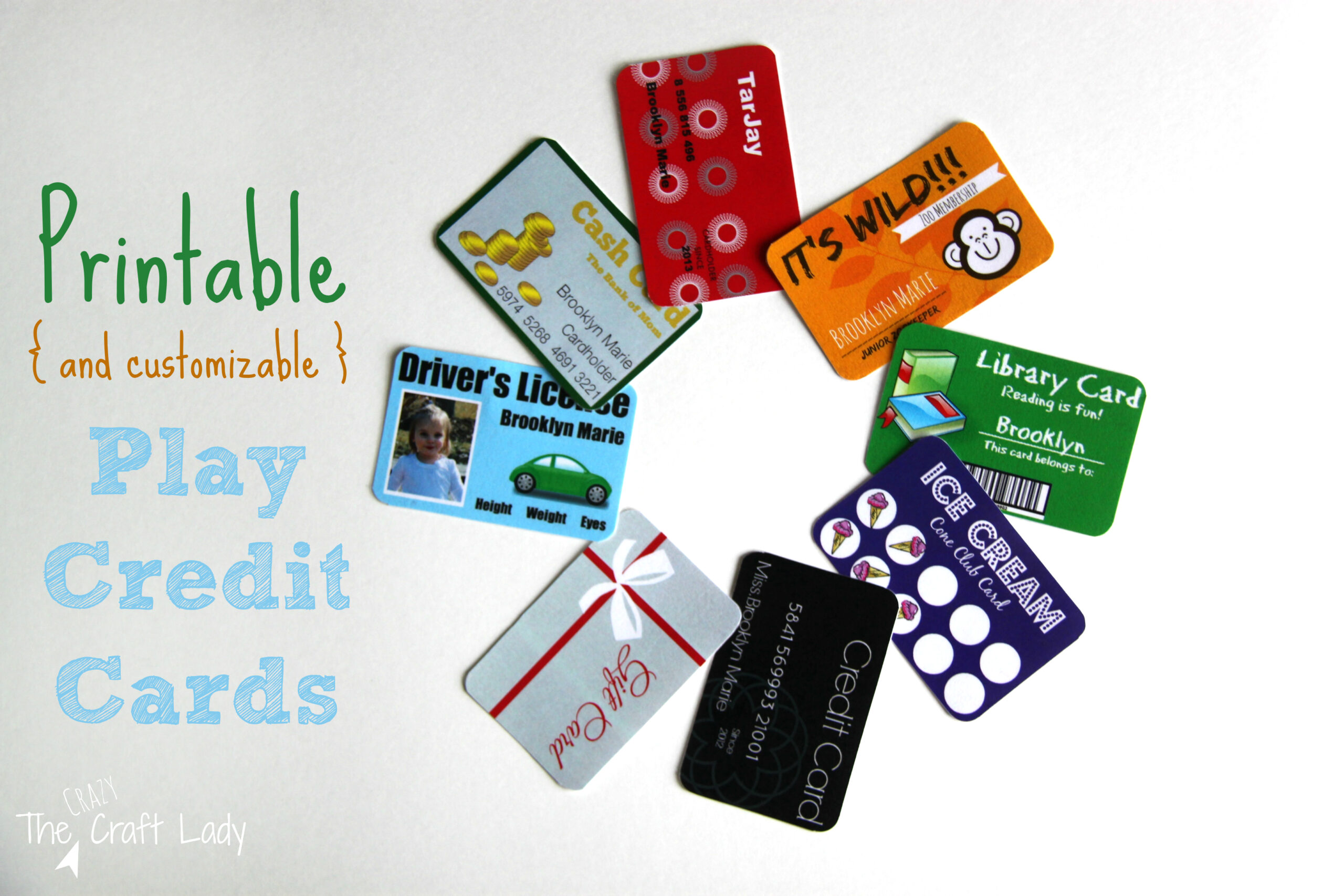 Printable (and Customizable) Play Credit Cards - The Crazy Craft Lady Throughout Credit Card Template For Kids