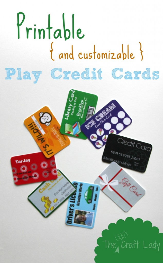 Printable (and Customizable!) PLay Credit Cards - Make a play wallet with customized cards for your child.