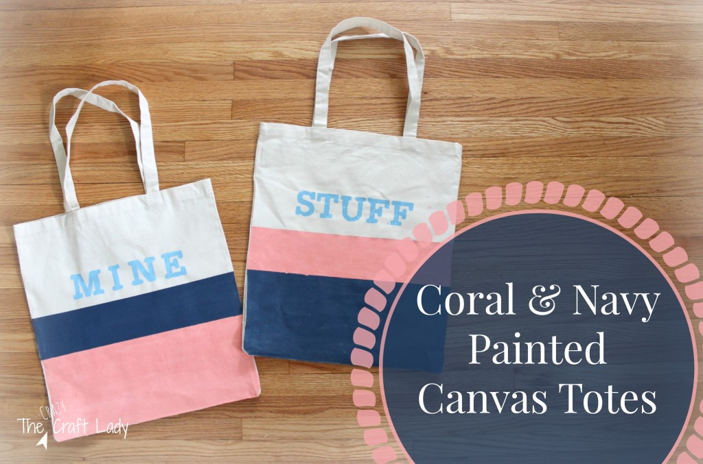 Navy & Coral Painted Canvas Totes