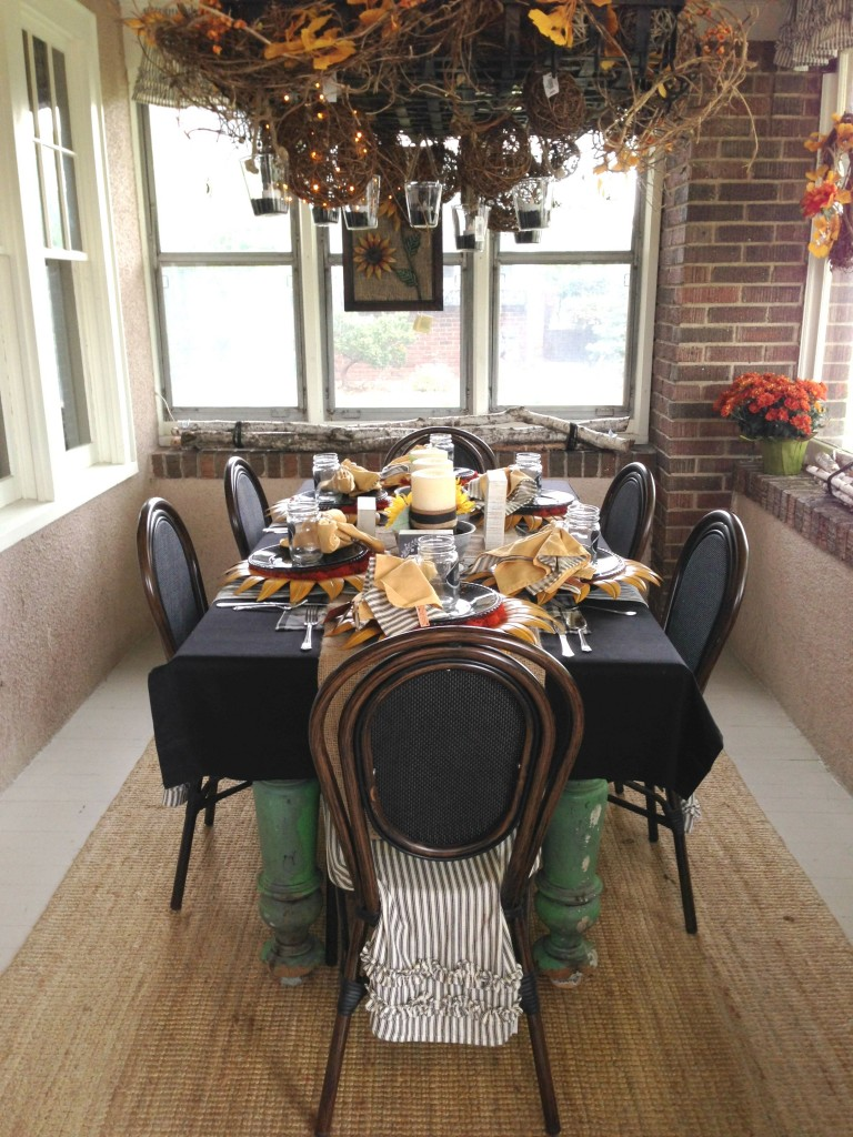 Navy and orange fall table setting inspiration from the Fall Ideas House.