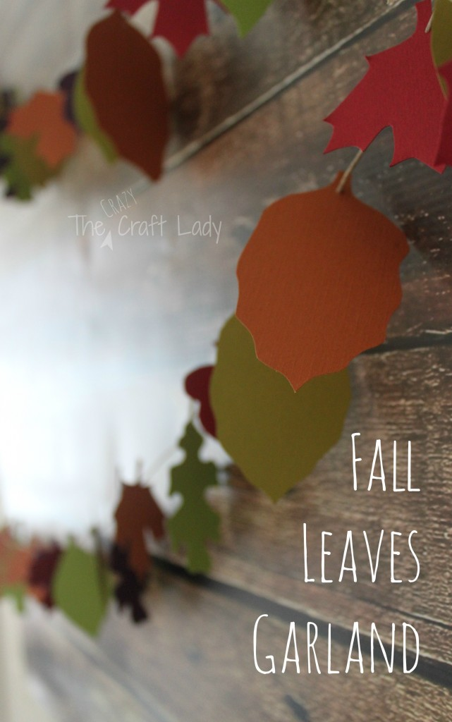 Paper Fall Leaves Garland from Cardstock and Twine - with free printable template from www.thecrazycraftlady.com