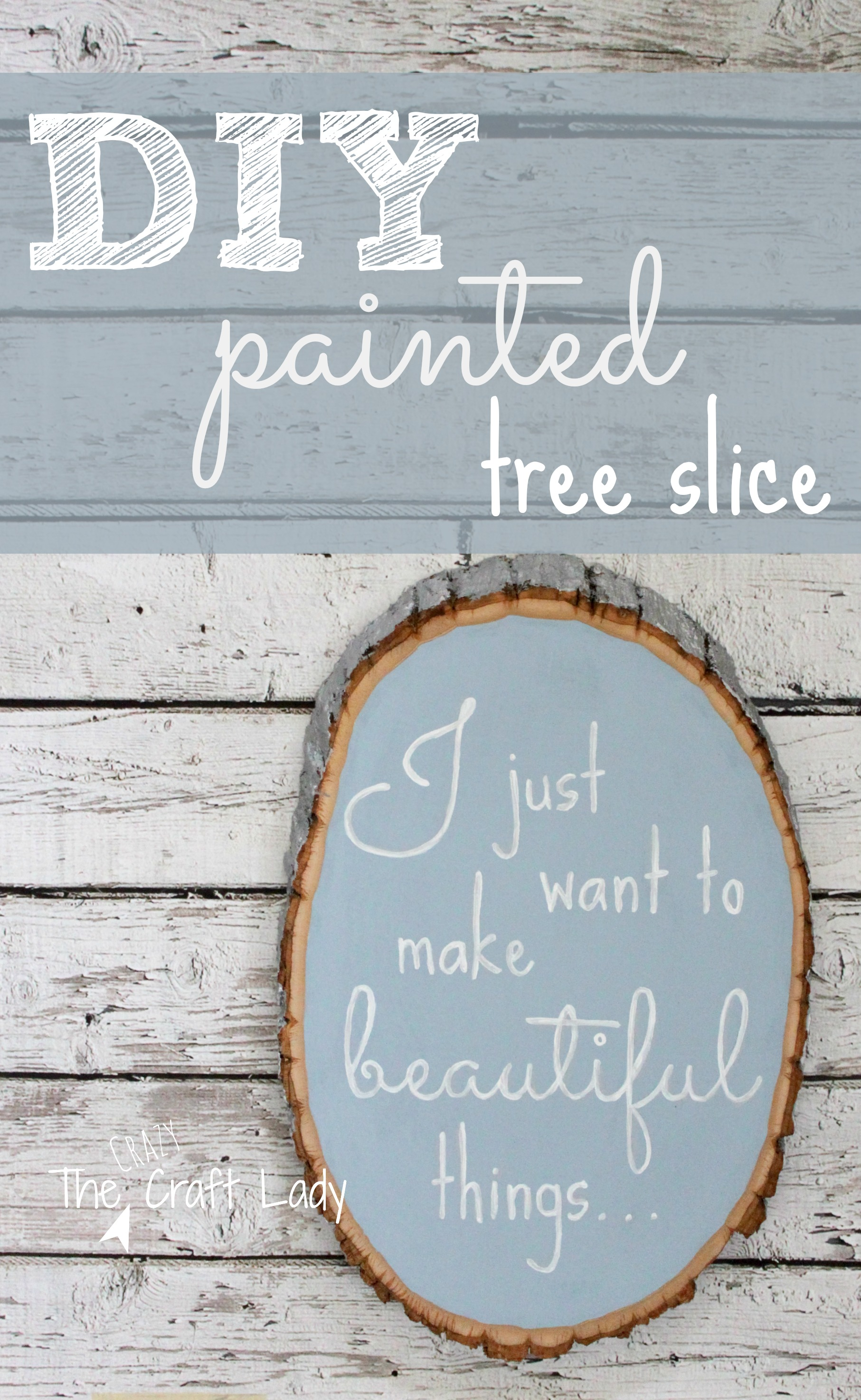 DIY Painted Tree Slice with tutorial and template from The Crazy Craft Lady