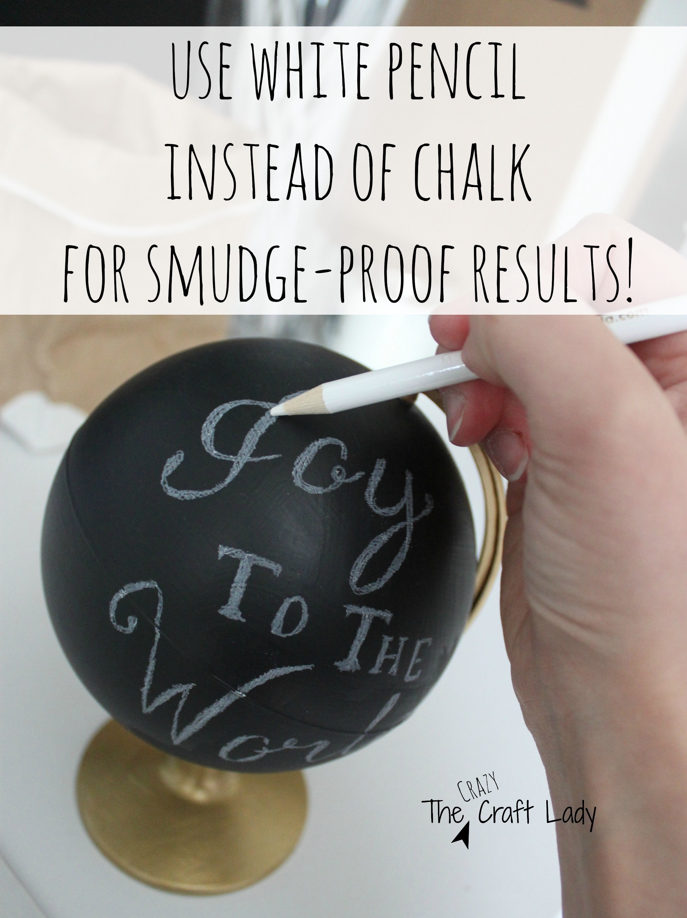 When making a chalkboard project that you don't want to smudge, use white pencil instead of chalk.