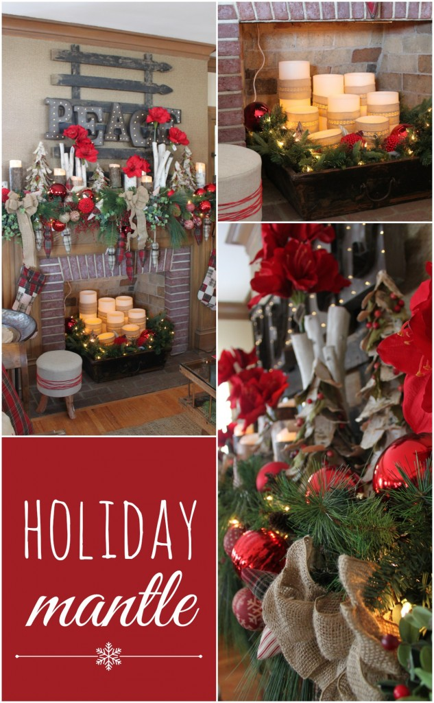 A holiday mantle from the Winter Ideas House 2014