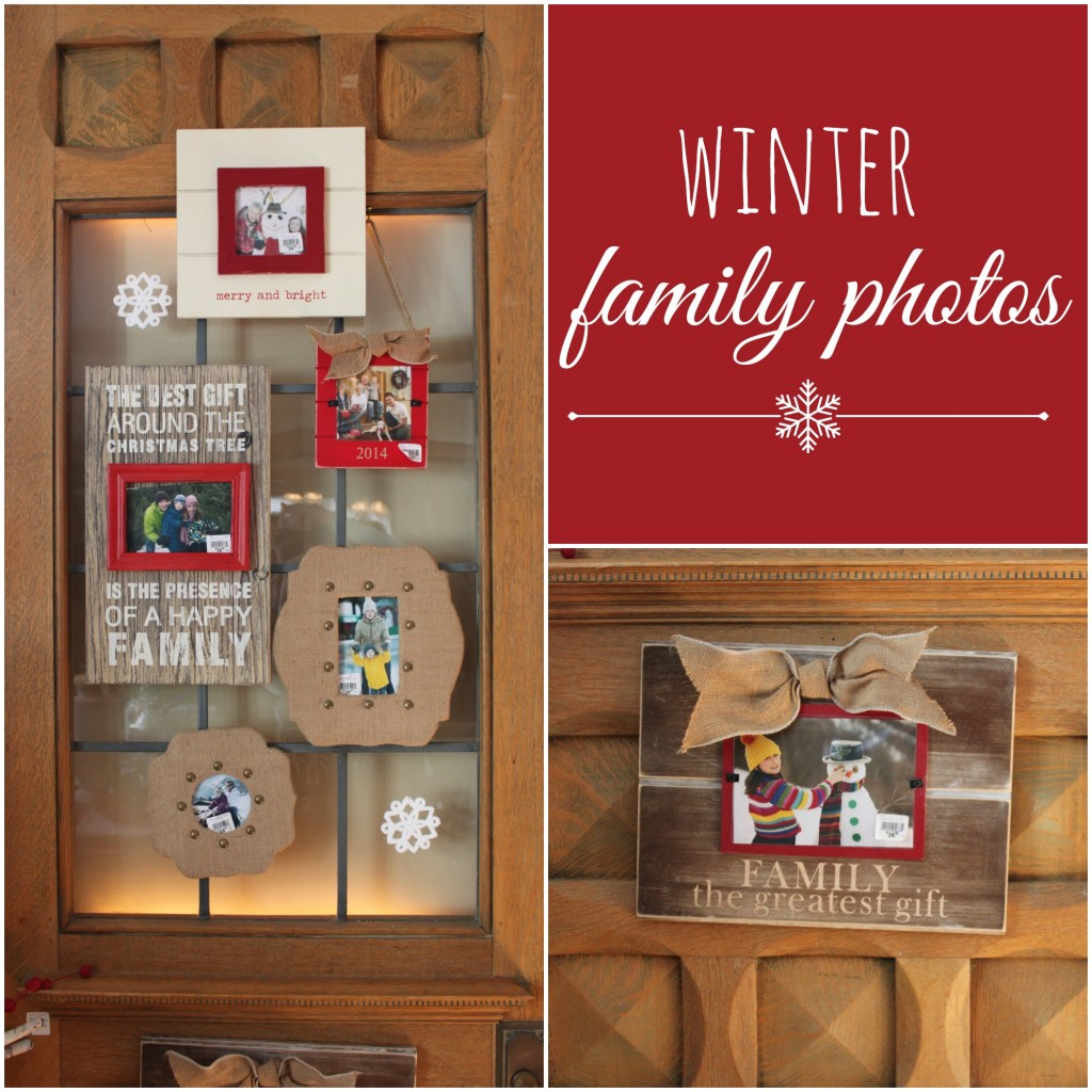 Decorate a door with family winter pictures - the Winter Ideas House 2014