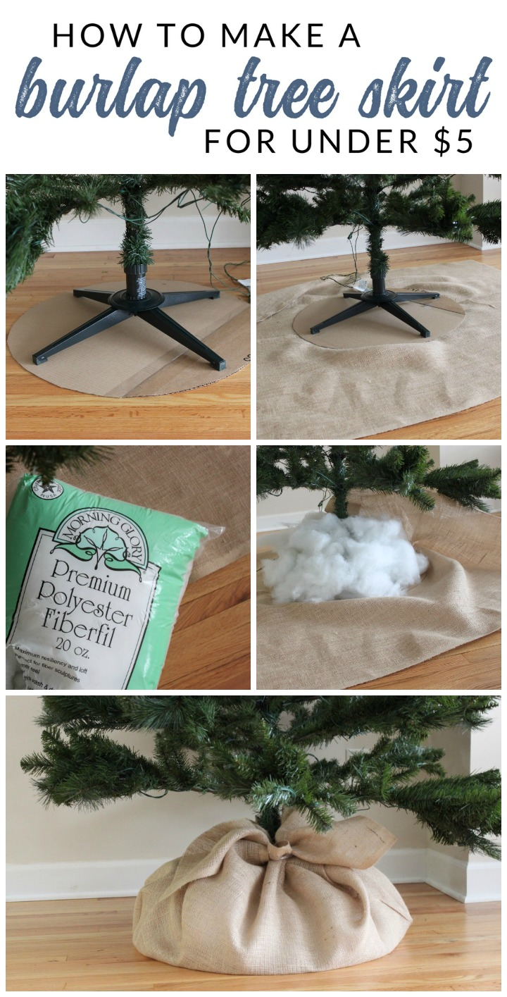 DIY Christmas Tree Skirt Ideas: See how easy DIY Christmas Tree Decorating can be. Using a few simple supplies, you can decorate an entire tree for under $30. Follow this tutorial to make a DIY burlap tree skirt and burlap garland.