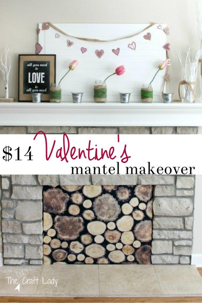 A Budget Friendly Valentines Mantel Makeover