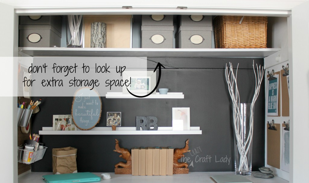 Extra storage space in a home office closet