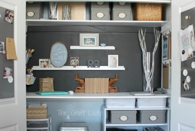 A home office and craft space inside of a spare closet