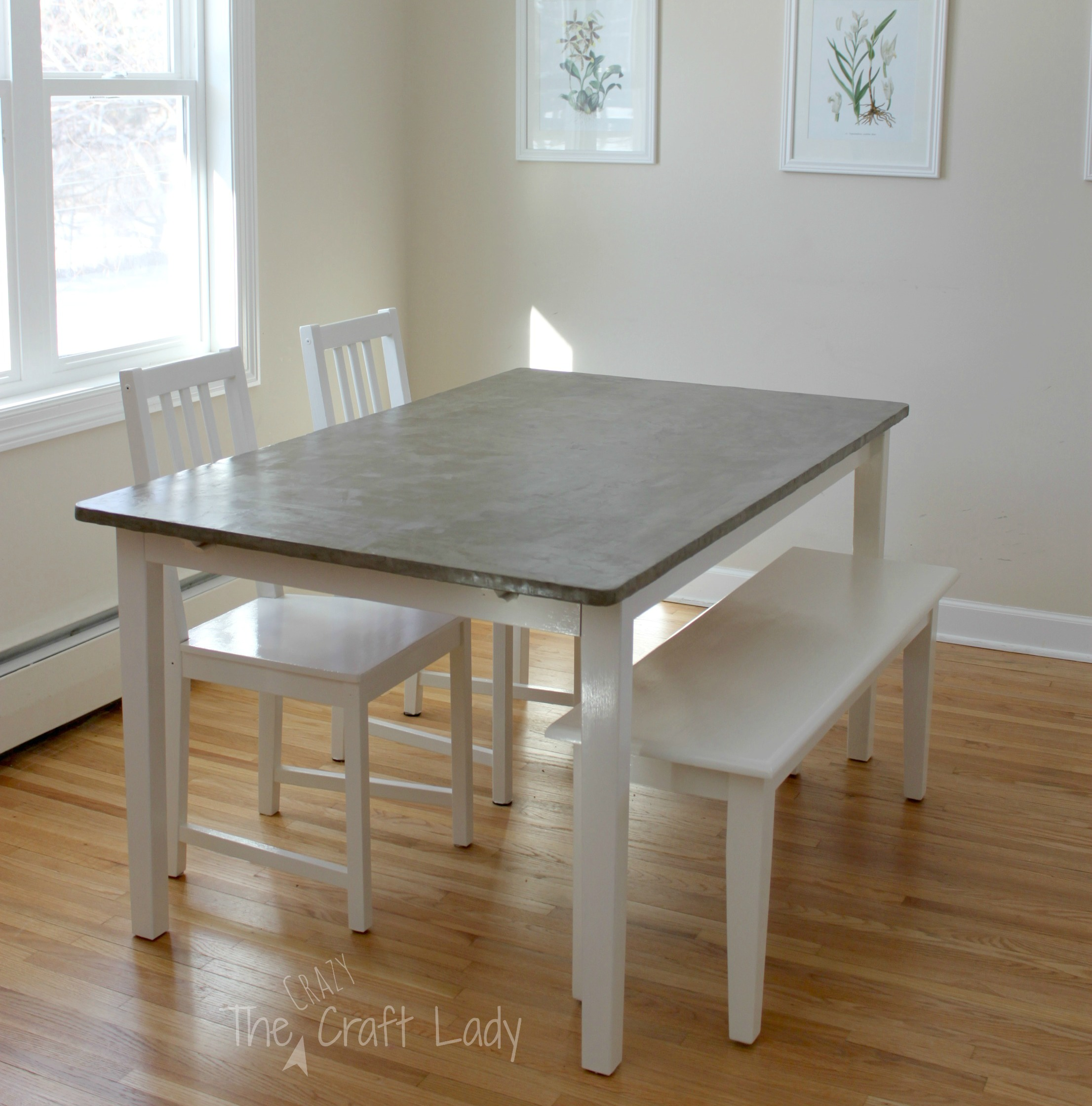 Diy Concrete Dining Table Top And Set Makeover The Crazy Craft Lady
