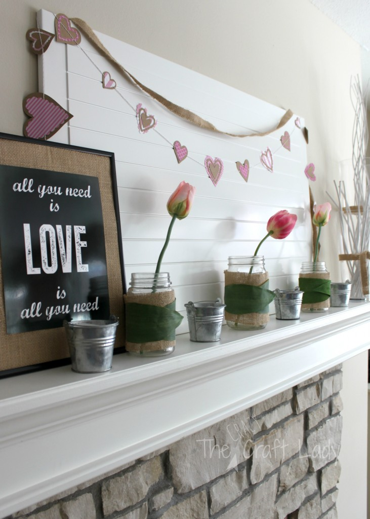 A $14 Valentine's Mantle Makeover - and that's an Ikea Cabinet door for the backdrop
