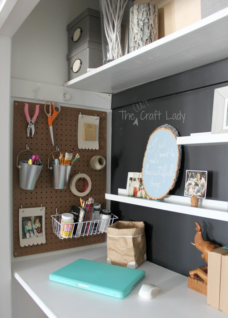 Pegboard storage for a home office in a closet