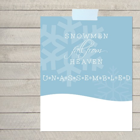 Snowmen Fall From Heaven Unassembled - Free Printable