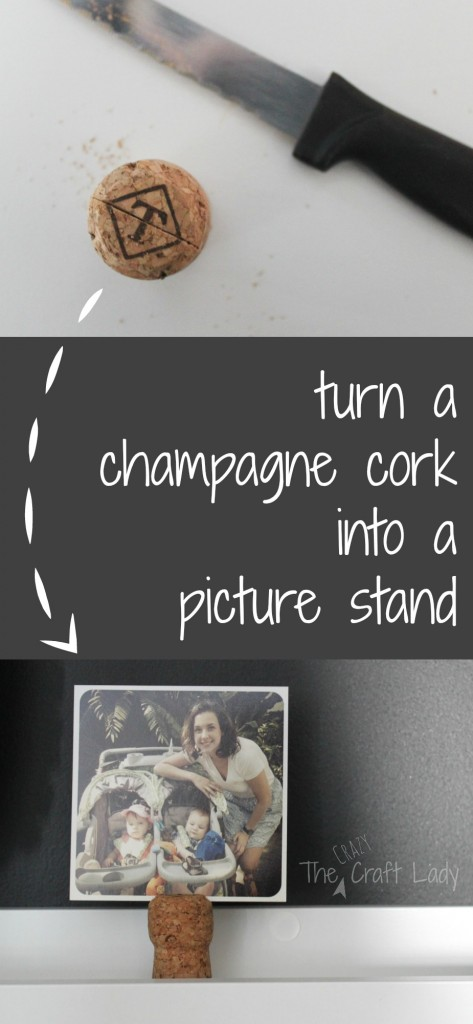 Turn a champagne cork into a picture stand