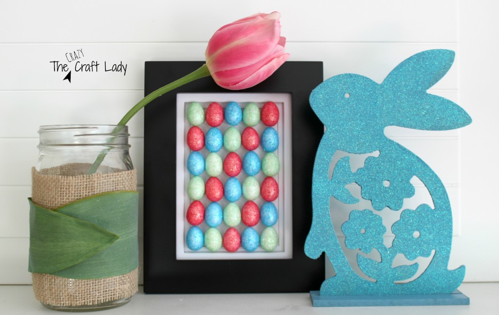 DIY Easter Egg Art - A simple craft using mini foam eggs from the dollar store. #dollarstorecraft #easter